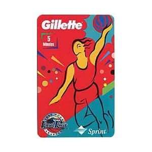 Collectible Phone Card 5m Gillette 1995 Female Jump (Teal at Bottom