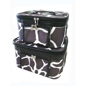 Case Cosmetic Toiletry 2 Piece Luggage Set Black Giraffe Print Beauty