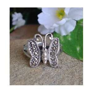 Sterling Silver Marcasite Butterfly Ring size 4.5 Jewelry