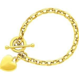 14K Gold Heart Cable Charm Bracelet 8.5 Jewelry