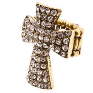 Gold Tone Stretch Band Ring with Cross Focal with Crystal