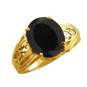 4.40 Ct Oval Black Onyx 14k Yellow Gold Ring Jewelry