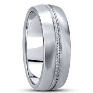 White Gold Wedding Band Ring with High Polished Finish and Center Rope