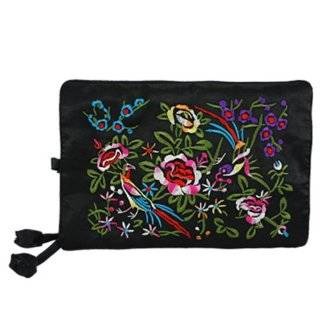 Silky Embroidered Brocade Jewelry Travel Organizer Roll Pouch   Onyx