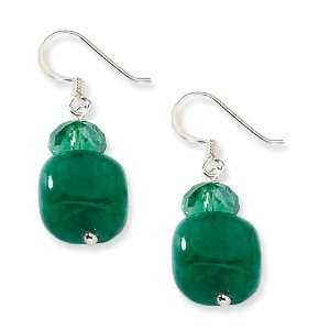 Sterling Silver Green Crystal and Green Jade Earrings Jewelry