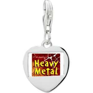 Sterling Silver Gold Plated Music Heavy Metal Photo Heart Frame Charm