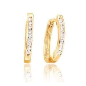 .20 Carat Diamond Channel 14k Yellow Gold Huggie Earrings Jewelry