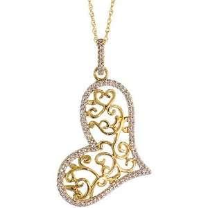 14k Gold 18 Chain & 1 3/8 (36mm) tall Filigree Heart Diamond Pendant