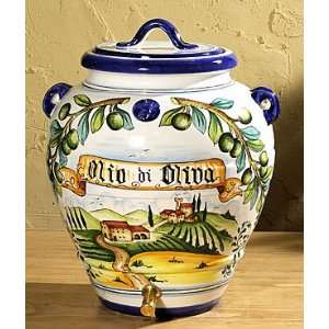 Intrada MAJ7809 Jar With Lid & Spout Olio Di Oliva 15 Inch H