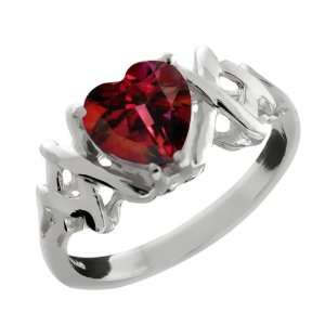 1.53 Ct Heart Shape Crimson Red Mystic Topaz 14k White