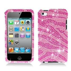 For Apple Ipod Touch 4 Large Full Diamond Case Zebra Pink
