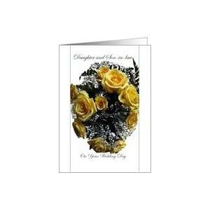 Wedding, Congratulations, Daughter and Son in law, Yellow Rose Bouquet