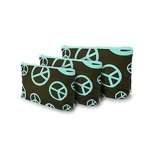 Sign Print 3 Piece Cosmetic Makeup Bag Set Turquoise and Brown Beauty