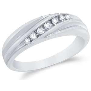 Size 12.5   10k White Gold Diamond MENS Wedding Band Ring   w/ Channel