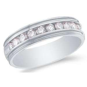 Size 5   14K White Gold Large Diamond MENS Wedding Band Ring   w/ Pave