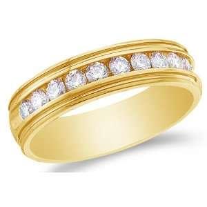 Size 12.5   14K Yellow Gold Large Diamond MENS Wedding Band Ring   w