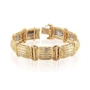 Mens Solid 14k Yellow Gold 9.75 ctw Diamond Bracelet Jewelry