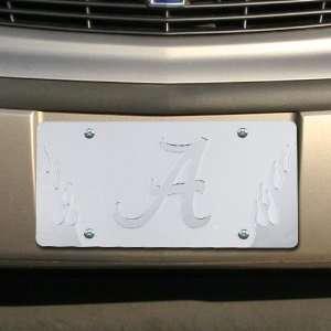 Alabama Crimson Tide Satin Mirrored Flame License Plate Automotive