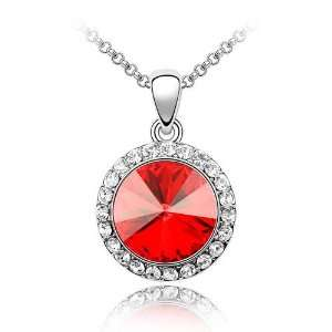Red Crystal Pendant Necklace Used Swarovski Crystals