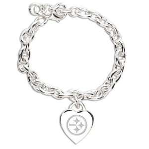 NFL Pittsburgh Steelers Ladies Silver Heart Charm Bracelet