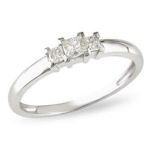 Princess Cut 3 Stone Diamond 14K White Gold Anniversary Ring Jewelry
