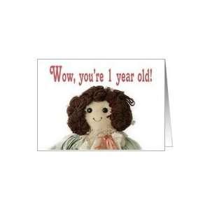 Rag Doll, Happy Birthday 1 year Old Card  Toys & Games