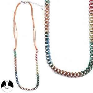 sg paris teenager necklace necklace 56cm+ext gold orange+multico metal