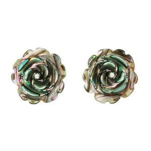 Sterling Silver with Abalone Rose Flower Earring Jewelry