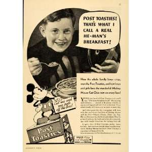 1934 Ad Post Toasties Cereal Mickey Mouse Goofy Disney