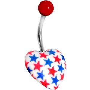 Patriotic Red White Blue Heart Belly Ring Jewelry