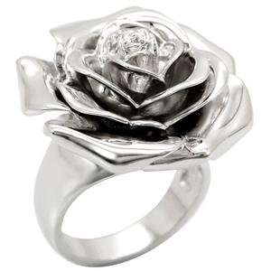 Silver Rose Cocktail Ring SZ 7 Jewelry