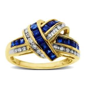 Sapphire and Diamond Cocktail Ring in 10K Gold Jewelry