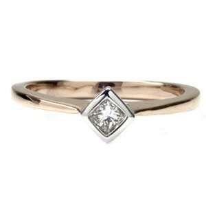 14k Rose Gold, Princess Diamond Engagement Ring (0.15 ctw) Jewelry
