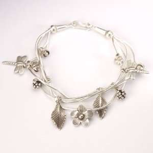 Karen silver flower leaf charm dragonfly bangle hand cuff bracelet by