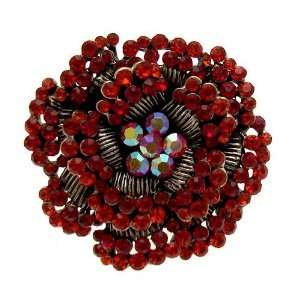 com Acosta Jewellery   Large Burgundy & Red Crystal   Antique Silver