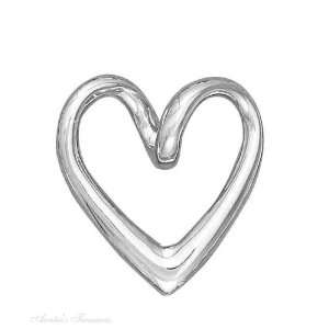 Sterling Silver Open Heart Slider Charm Arts, Crafts