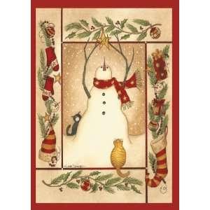 Boxed Christmas Cards, Folk Art Snowman, 15 Count