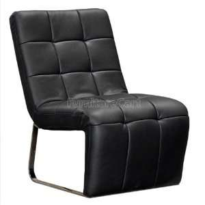 STAINLESS STEEL FRAME IN BLACK LEATHER BY DIAMOND SOFA Furniture