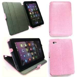 Leather Desk Stand Case for Galaxy Tab   Pink Electronics
