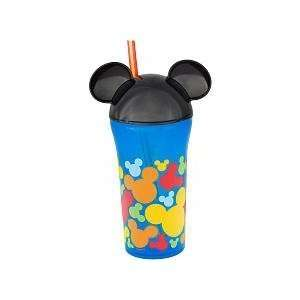 Disney Mickey Mouse Head Cup with Straw   Blue & Black