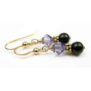 Damali 14K Gold Dangle Earrings December Tanzanite Pearl
