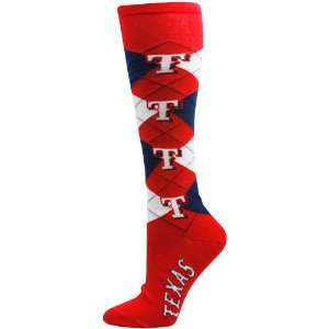Texas Rangers Ladies Red Navy Blue Argyle Tall Socks