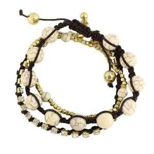 Beaded Stretch Bracelet Set; 3 Pieces; Brown Draw String