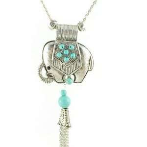 Tibetan Silver and Turquoise Elephant Necklace