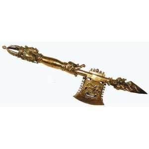 Tibetan Silver Dragon Axe Phurba Huge