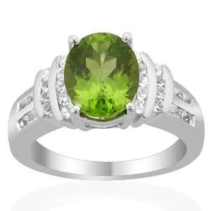 Sterling Silver 3.40cts Peridot and White Topaz ring (Size 6) Jewelry