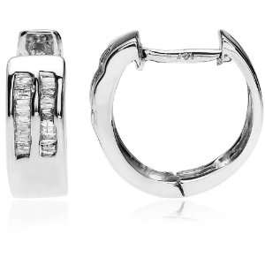 14k White Gold Hoop Earrings (1/4 cttw, H I Color, I2 I3