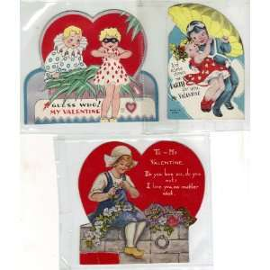 Vintage Valentine Cards Set Of Three 40s 50s Everything