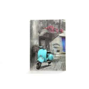 Below the Balcony Light Blue Vespa Scooter 25cm x 35cm 3D