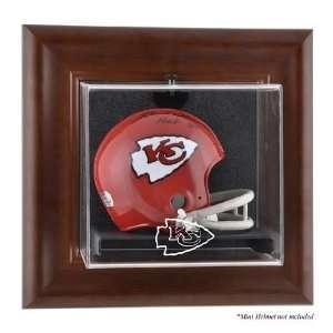 Brown Framed Wall Mounted Mini Helmet Case (chiefs